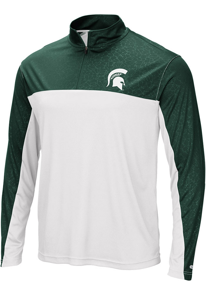 Colosseum Michigan State Spartans Mens Green Luge Long Sleeve 1/4 Zip Pullover - Image 1