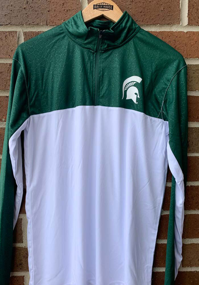 Colosseum Michigan State Spartans Mens Green Luge Long Sleeve 1/4 Zip Pullover - Image 3