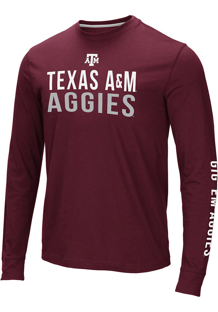 Colosseum Texas A&M Aggies Maroon Lutz Long Sleeve T Shirt - Image 1