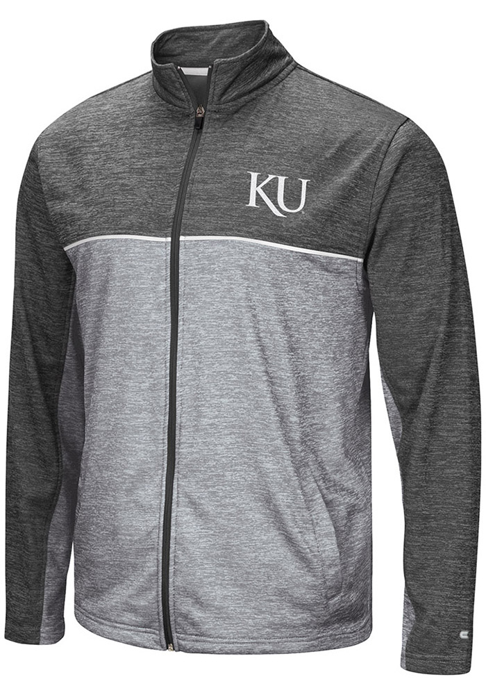 Colosseum Kansas Jayhawks Mens Grey Banked Long Sleeve Zip - Image 1