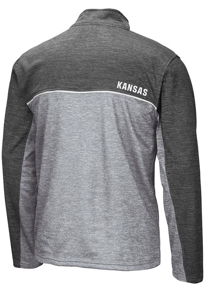 Colosseum Kansas Jayhawks Mens Grey Banked Long Sleeve Zip - Image 2