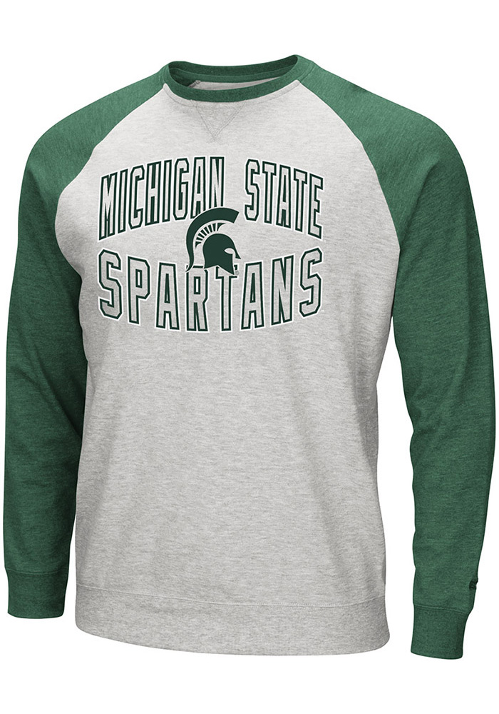 Colosseum Michigan State Spartans Mens Grey Cross Country Long Sleeve Crew Sweatshirt - Image 1