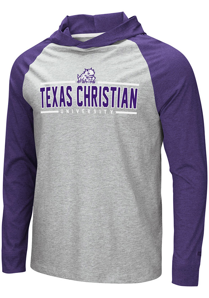 Colosseum TCU Horned Frogs Mens Grey Slopestyle Long Sleeve Hoodie - Image 1