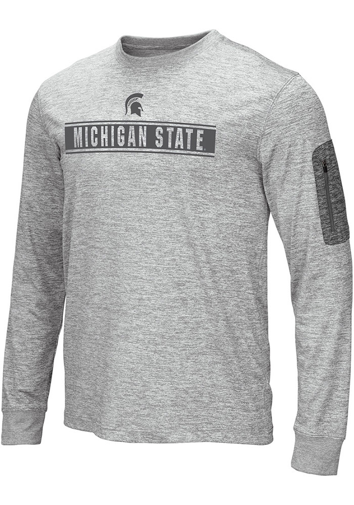 Colosseum Michigan State Spartans Grey Banked Long Sleeve T-Shirt - Image 1