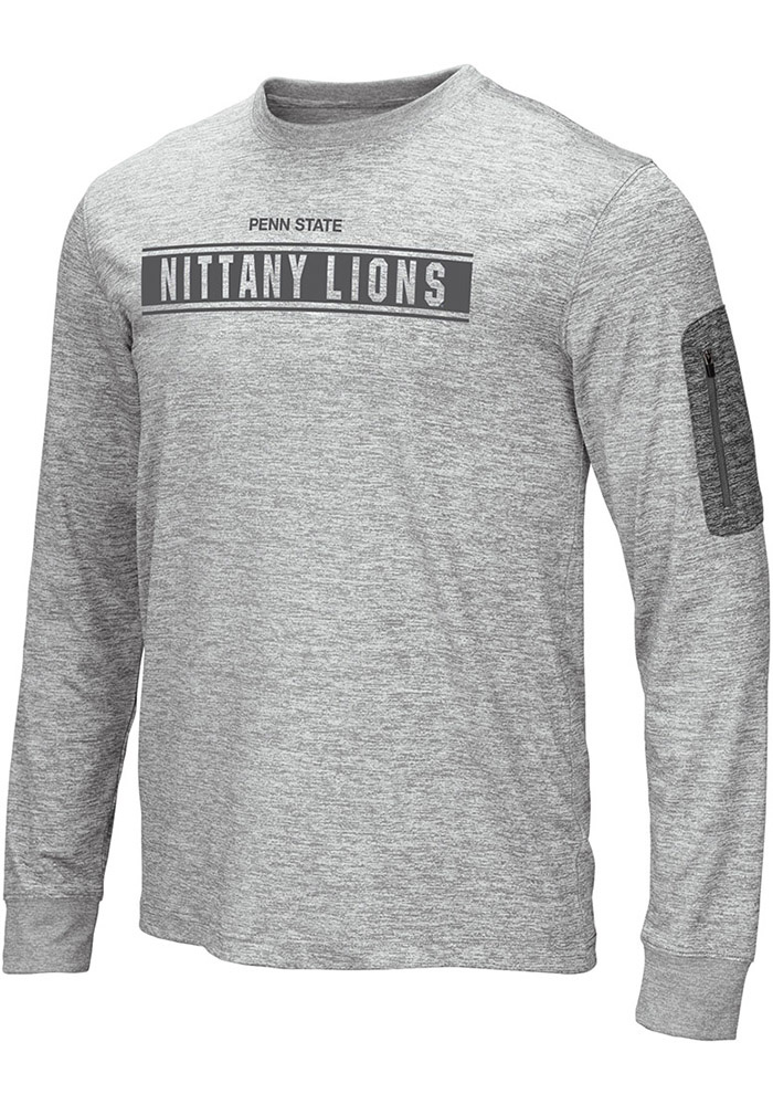 Colosseum Penn State Nittany Lions Grey Banked Long Sleeve T-Shirt - Image 1