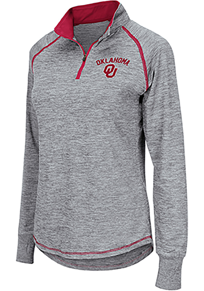Colosseum Oklahoma Womens Grey Athena 1/4 Zip Pullover - Image 1
