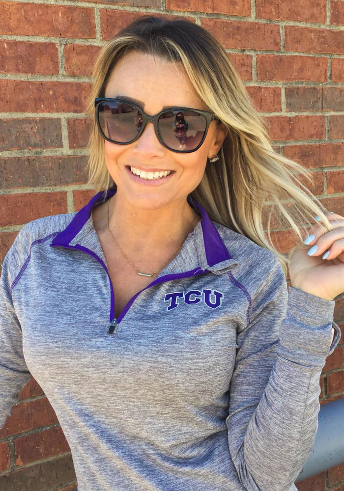 Colosseum Horned Frogs Womens Grey Athena 1/4 Zip Pullover - Image 2