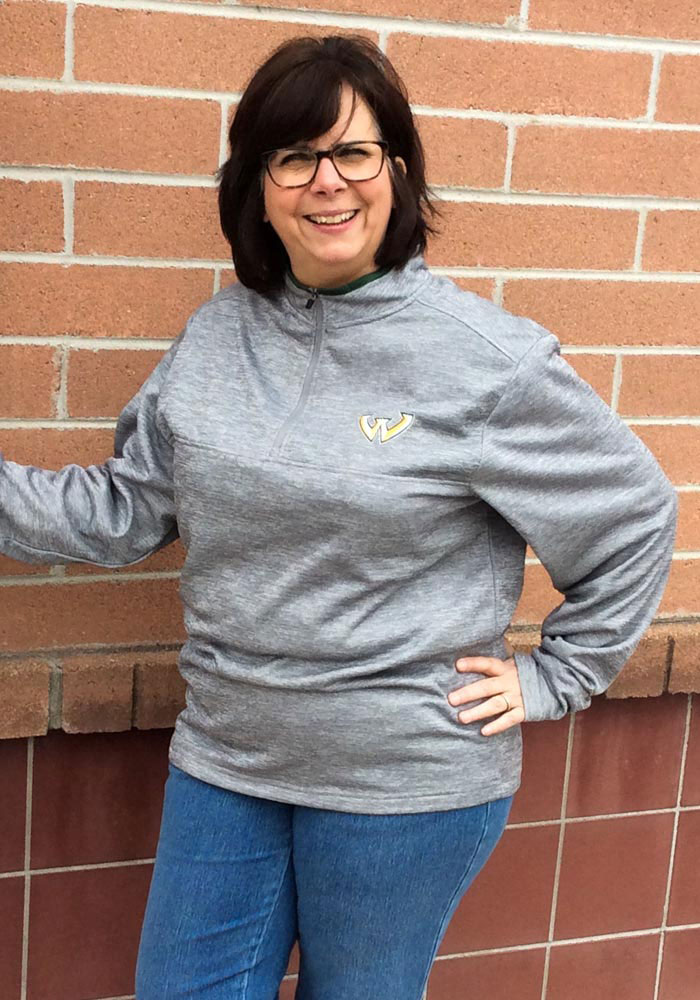 Colosseum Wayne State Warriors Womens Grey Athena 1/4 Zip Pullover - Image 2