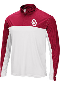 Colosseum Oklahoma Sooners White Luge 1/4 Zip Pullover