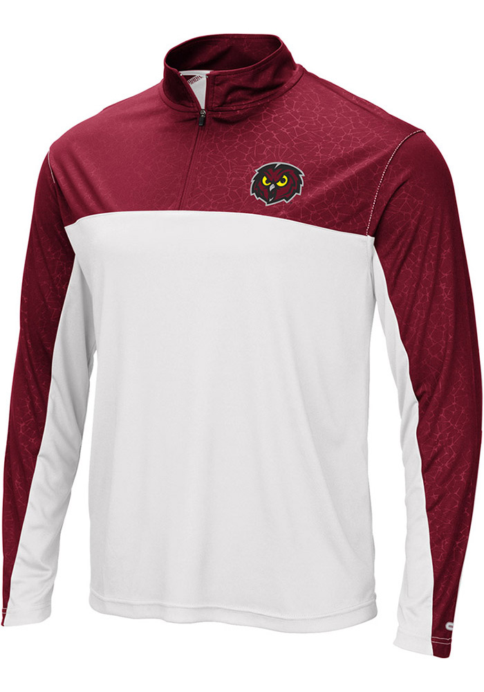 Colosseum Temple Owls Mens White Luge Long Sleeve 1/4 Zip Pullover - Image 1