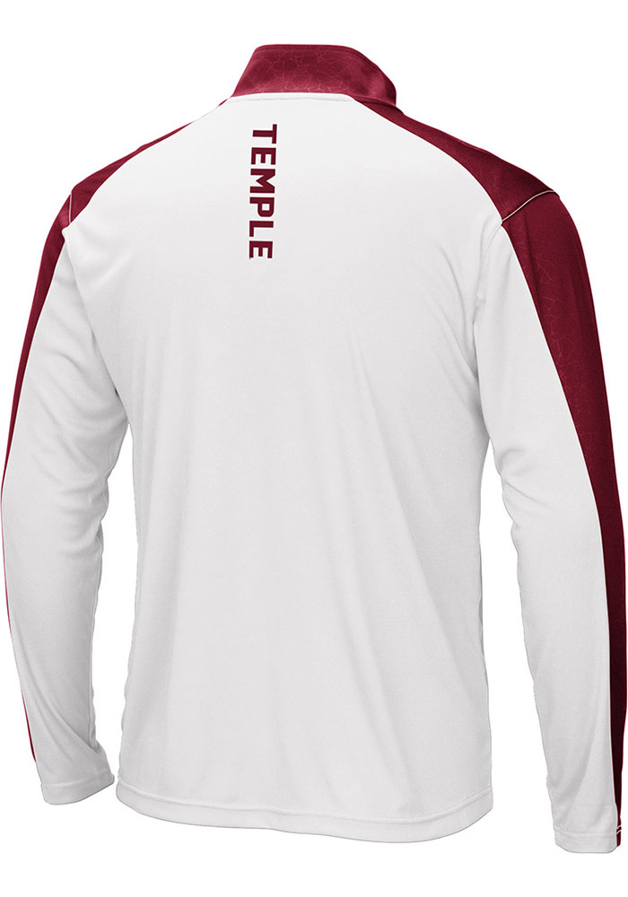 Colosseum Temple Owls Mens White Luge Long Sleeve 1/4 Zip Pullover - Image 2