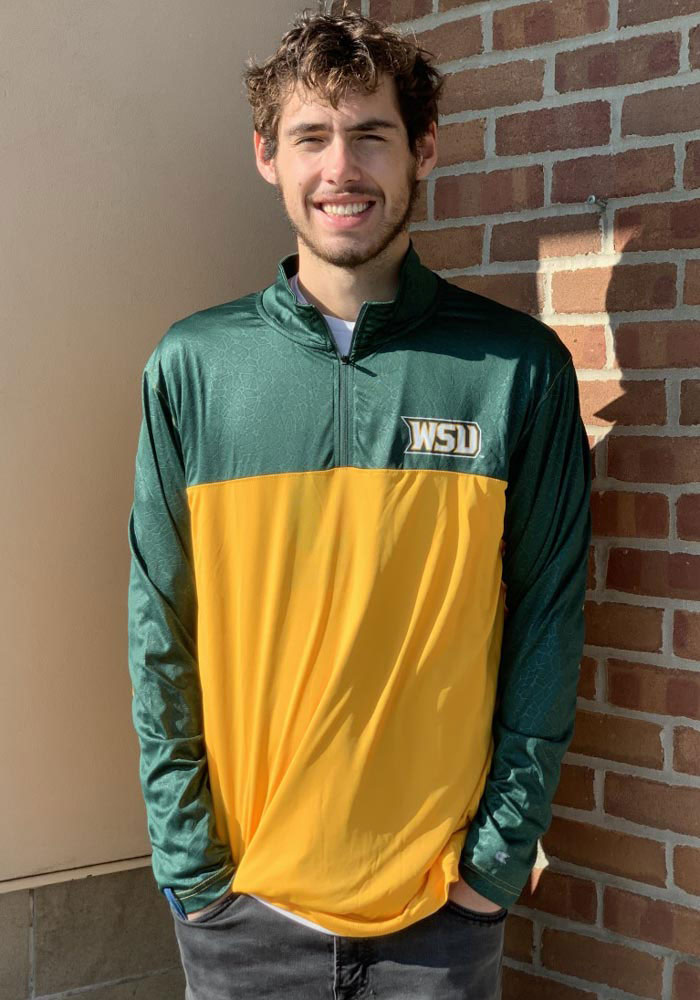 Colosseum Wright State Raiders Mens Gold Luge Long Sleeve 1/4 Zip Pullover - Image 3