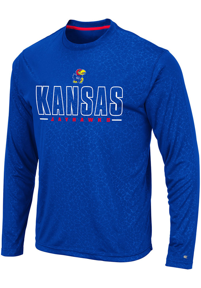 Colosseum Kansas Jayhawks Blue Luge Perf Long Sleeve T-Shirt - Image 1