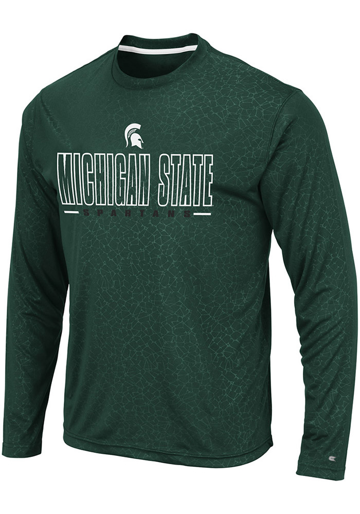Colosseum Michigan State Spartans Green Luge Perf Long Sleeve T-Shirt - Image 1