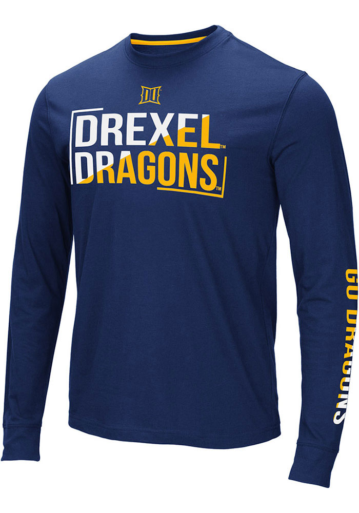Colosseum Drexel Dragons Navy Blue Lutz Long Sleeve T Shirt - Image 1