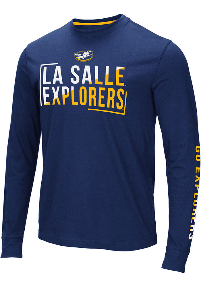 Colosseum La Salle Explorers Navy Blue Lutz Long Sleeve T Shirt - Image 1