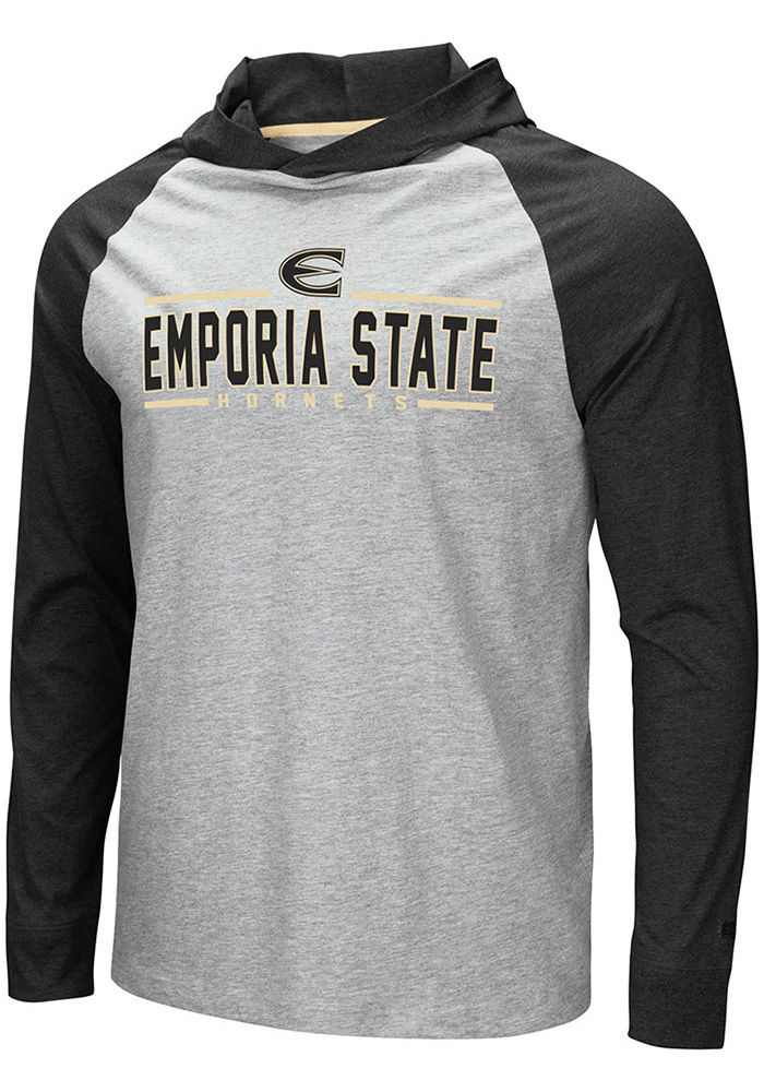 Colosseum Emporia State Hornets Mens Grey Slopestyle Long Sleeve Hoodie - Image 1