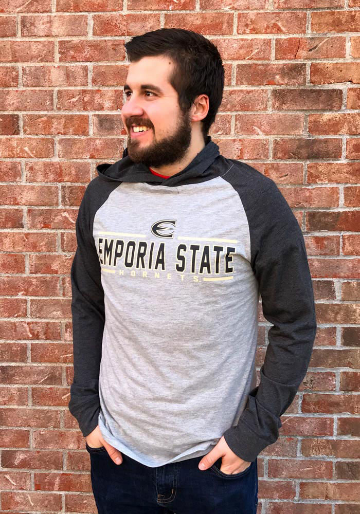 Colosseum Emporia State Hornets Mens Grey Slopestyle Long Sleeve Hoodie - Image 3