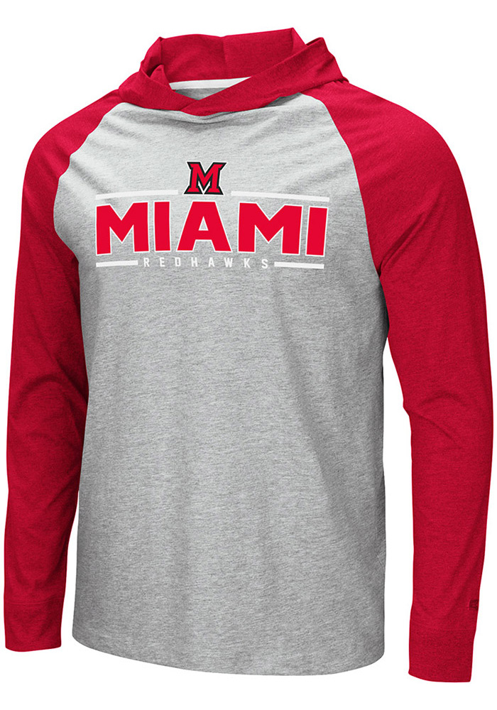 Colosseum Miami Redhawks Mens Grey Slopestyle Long Sleeve Hoodie - Image 1