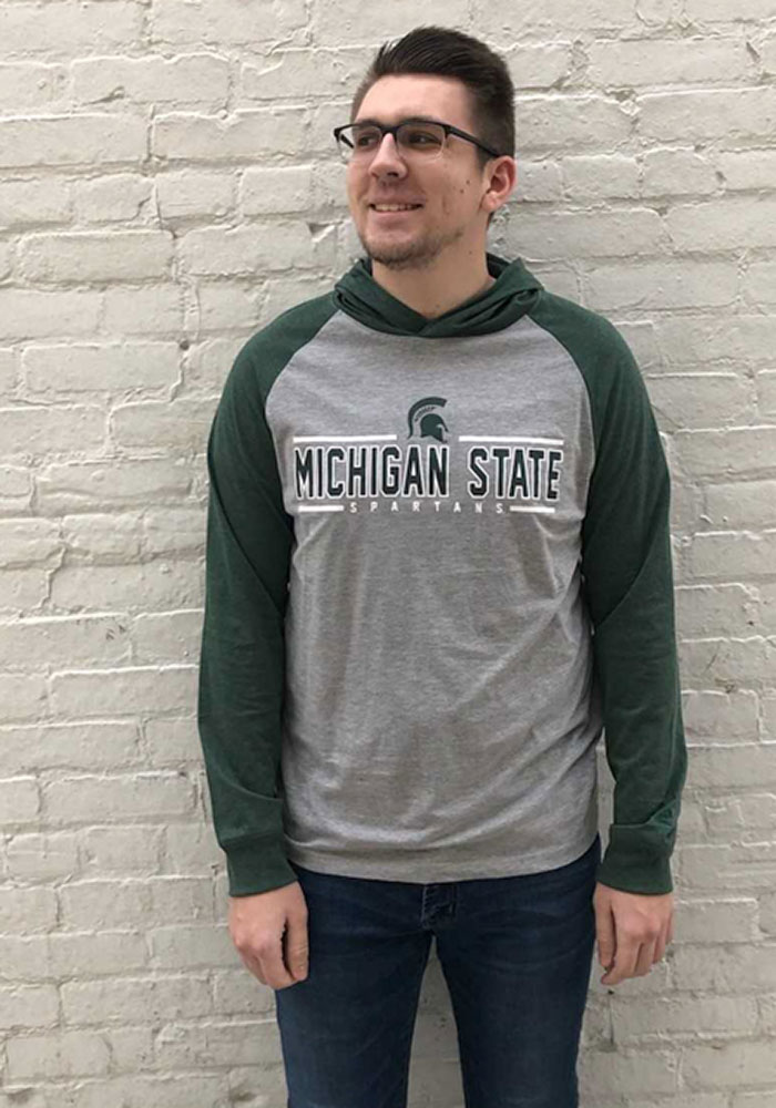 Colosseum Michigan State Spartans Mens Grey Slopestyle Long Sleeve Hoodie - Image 3