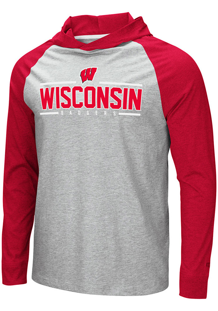Colosseum Wisconsin Badgers Mens Grey Slopestyle Long Sleeve Hoodie - Image 1