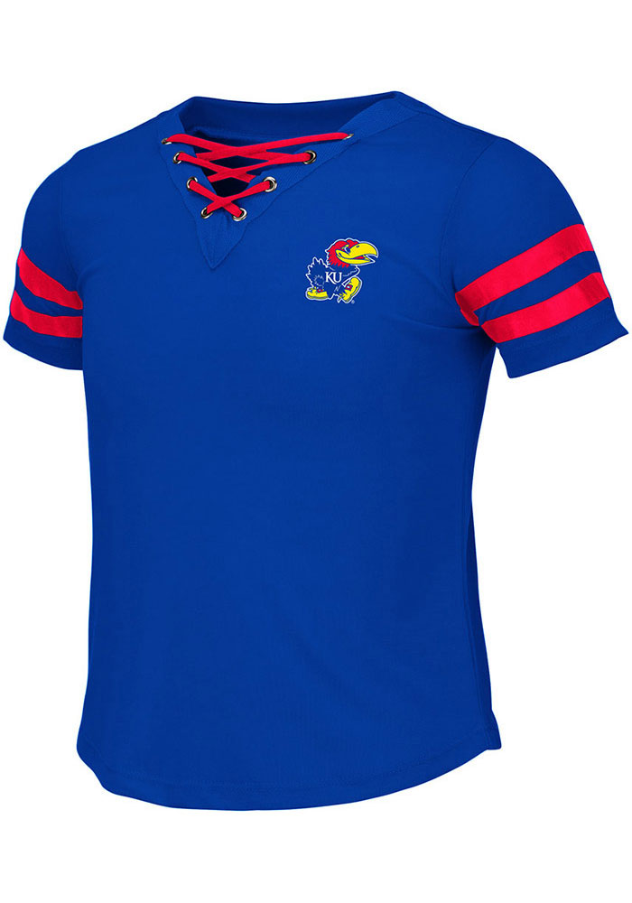 Colosseum Kansas Jayhawks Girls Blue Wels Short Sleeve Fashion T-Shirt - Image 1