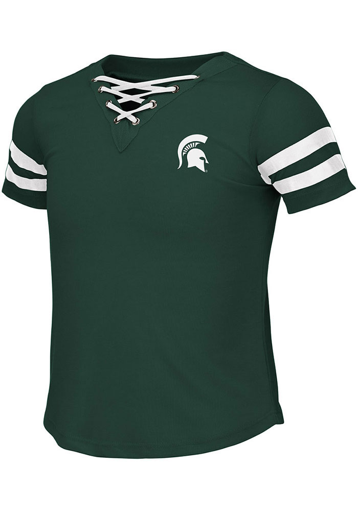 Colosseum Michigan State Spartans Girls Green Wels Short Sleeve Fashion T-Shirt - Image 1