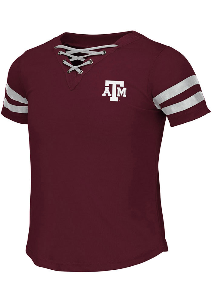 Colosseum Texas A&M Aggies Girls Maroon Wels Short Sleeve Fashion T-Shirt - Image 1