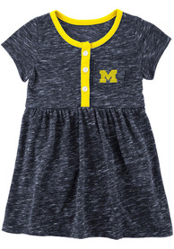 Michigan Wolverines Baby Girls Colosseum Nuess Dress - Navy Blue