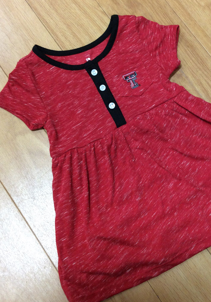 Colosseum Texas Tech Red Raiders Baby Girls Red Nuess Short Sleeve Dress - Image 3