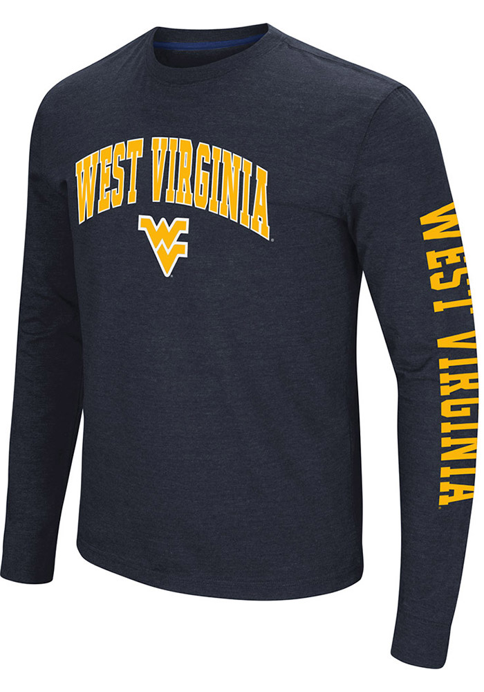 Colosseum West Virginia Mountaineers Navy Blue Jackson Long Sleeve T Shirt - Image 1
