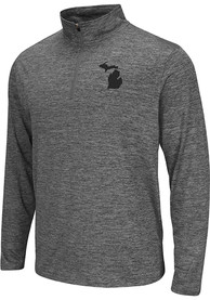Colosseum Michigan Grey State Shape Long Sleeve 1/4 Zip Pullover