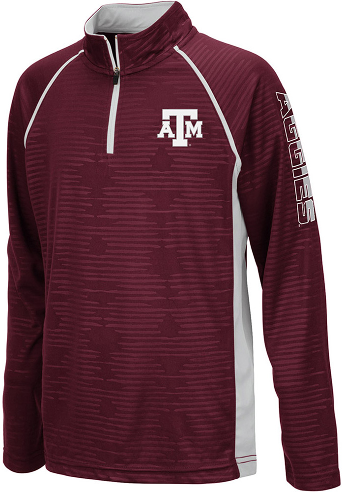 Colosseum Texas A&M Aggies Youth Maroon Mime Long Sleeve Quarter Zip Shirt - Image 1