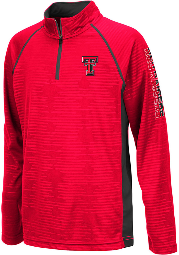Colosseum Texas Tech Red Raiders Youth Red Mime Long Sleeve Quarter Zip Shirt - Image 1
