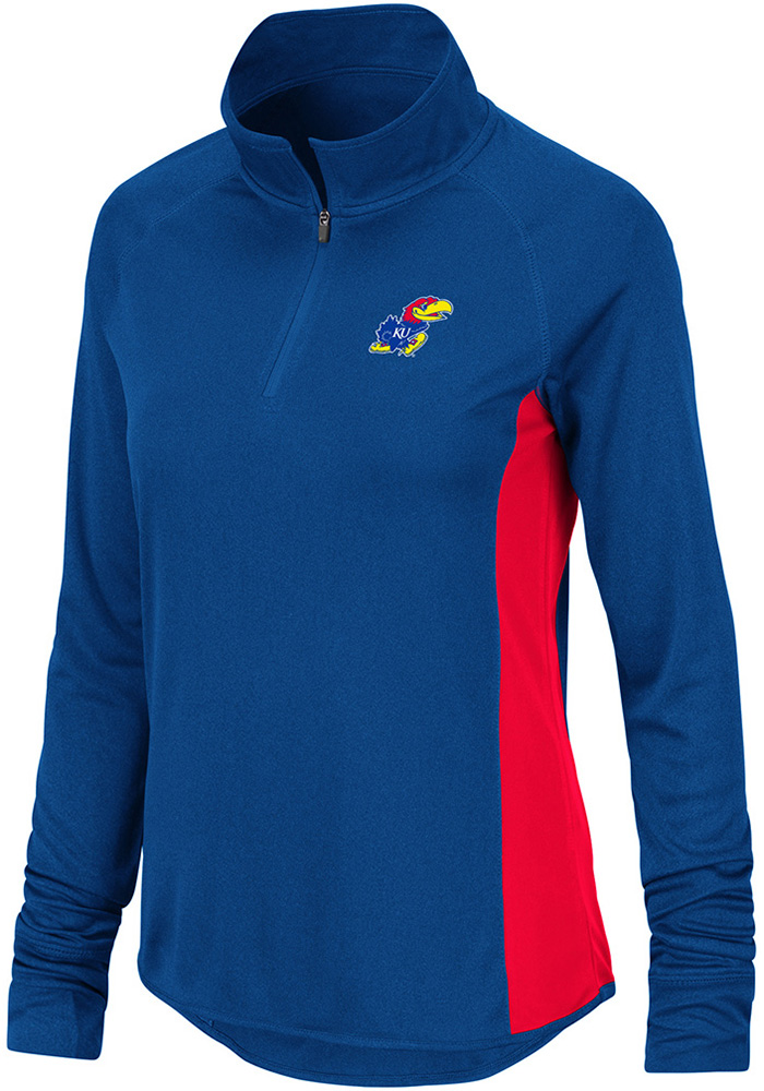 Colosseum Kansas Jayhawks Womens Albi Blue 1/4 Zip Pullover