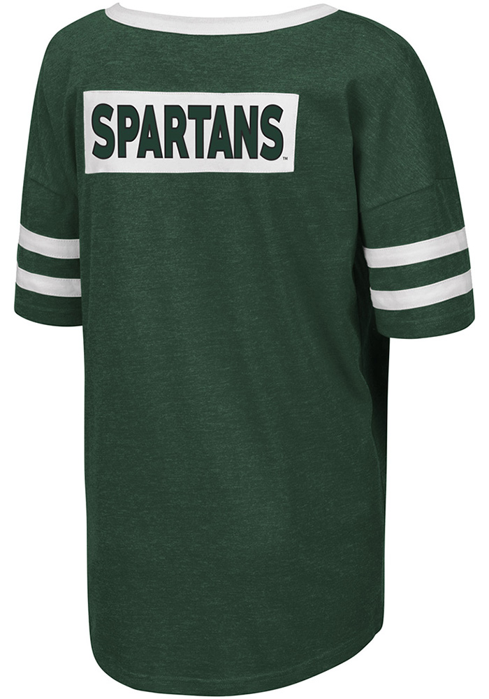 Colosseum Michigan State Spartans Womens Green Florence Short Sleeve T-Shirt - Image 2