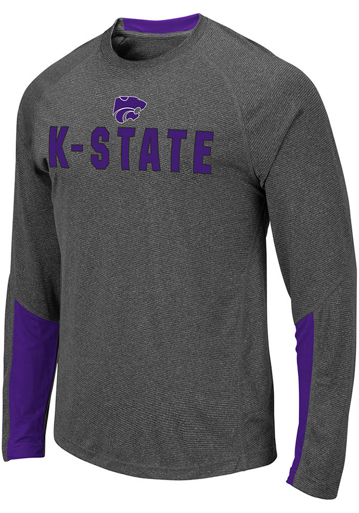 Colosseum K-State Wildcats Grey Brisbane Long Sleeve T-Shirt - Image 1