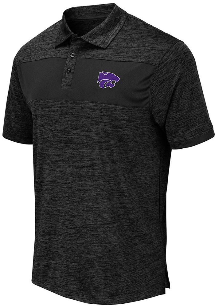 Colosseum K-State Wildcats Mens Grey Nelson Short Sleeve Polo - Image 1