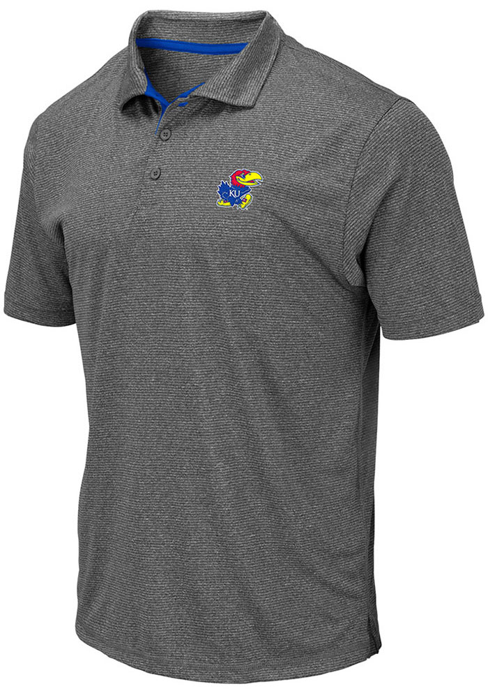 Colosseum Kansas Jayhawks Mens Grey Newcastle Short Sleeve Polo - Image 1