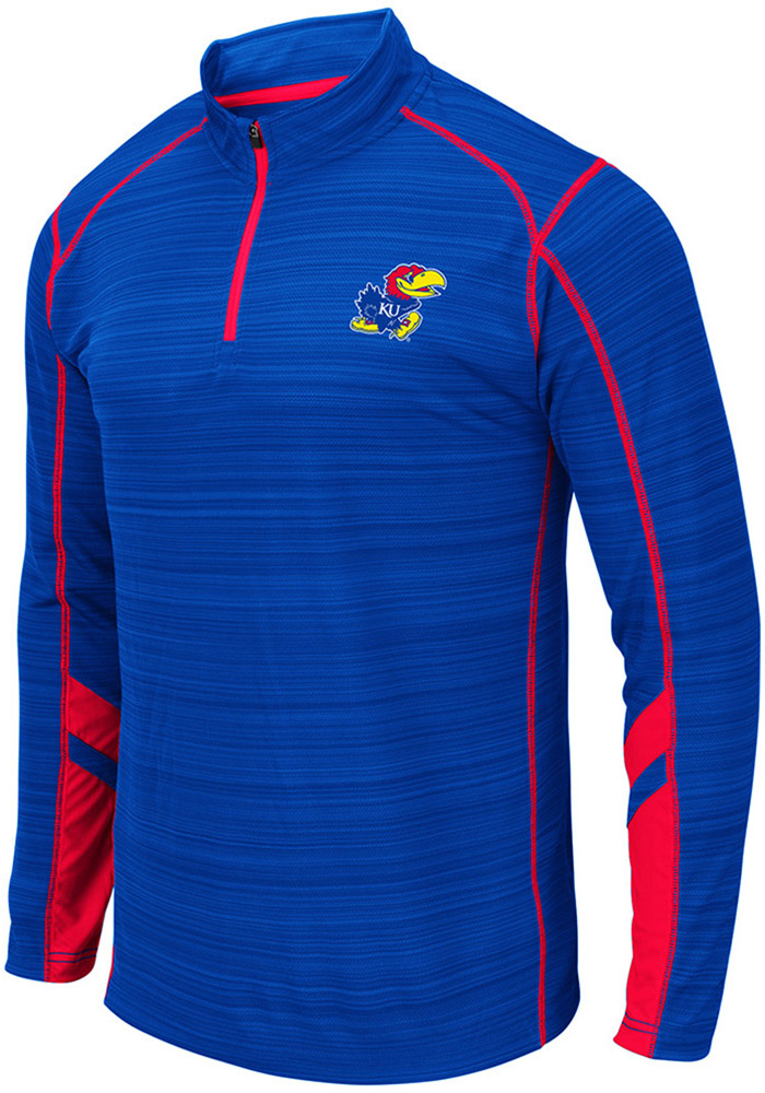 Colosseum Kansas Jayhawks Mens Blue Suva Long Sleeve 1/4 Zip Pullover - Image 1