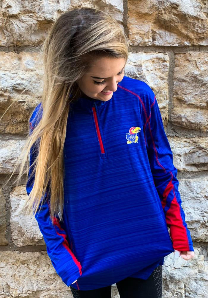 Colosseum Kansas Jayhawks Mens Blue Suva Long Sleeve 1/4 Zip Pullover - Image 3
