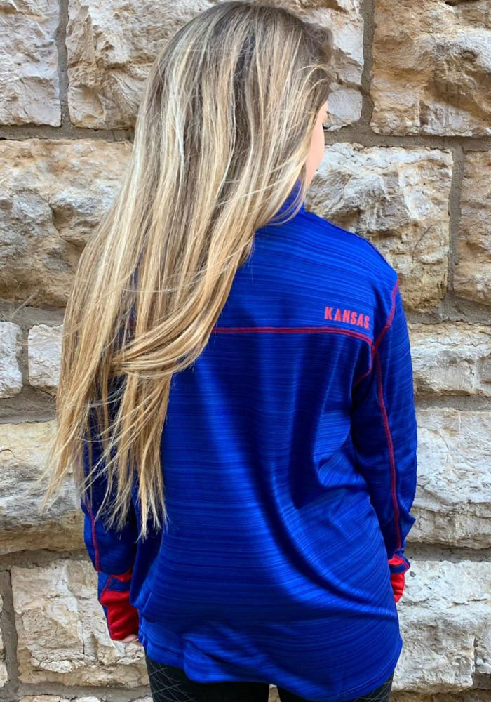 Colosseum Kansas Jayhawks Mens Blue Suva Long Sleeve 1/4 Zip Pullover - Image 4