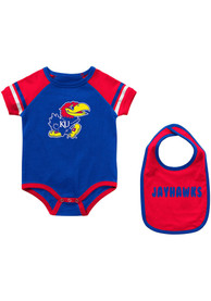 Kansas Jayhawks Baby Colosseum Warner One Piece with Bib - Blue