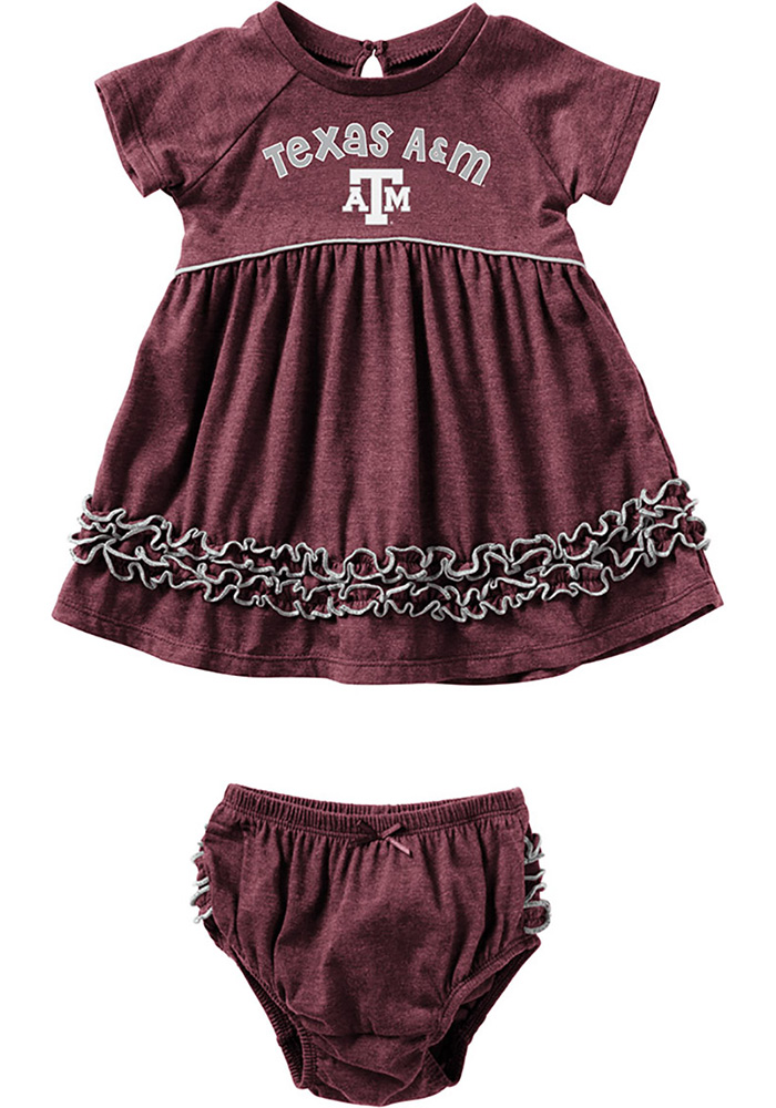 Colosseum Texas A&M Aggies Baby Girls Maroon Lucky Short Sleeve Dress - Image 1