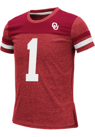 Oklahoma Sooners Girls Colosseum Mink Fashion T-Shirt - Cardinal