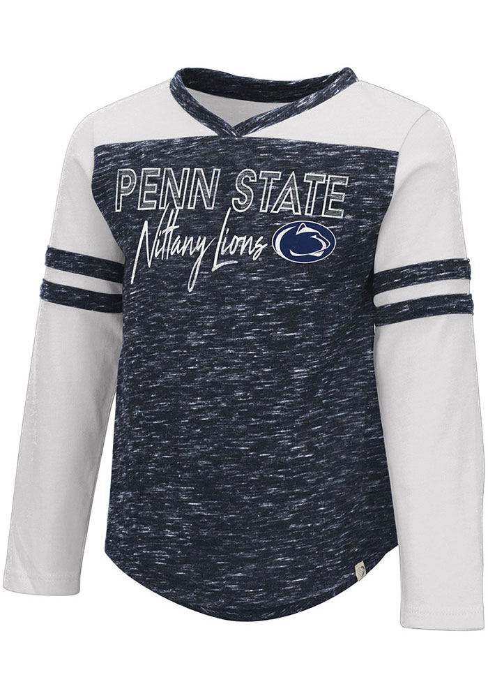 Colosseum Penn State Nittany Lions Toddler Girls Navy Blue Pipsqueak Long Sleeve T Shirt - Image 1