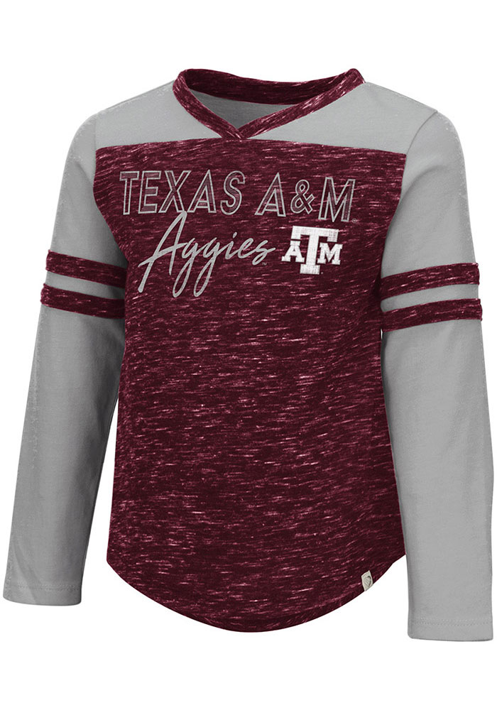 Colosseum Texas A&M Aggies Toddler Girls Maroon Pipsqueak Long Sleeve T Shirt - Image 1