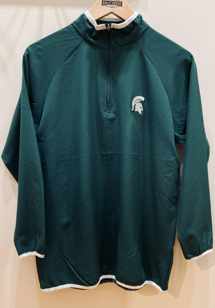 Colosseum Michigan State Spartans Mens Green Chalmers Long Sleeve 1/4 Zip Pullover - Image 2
