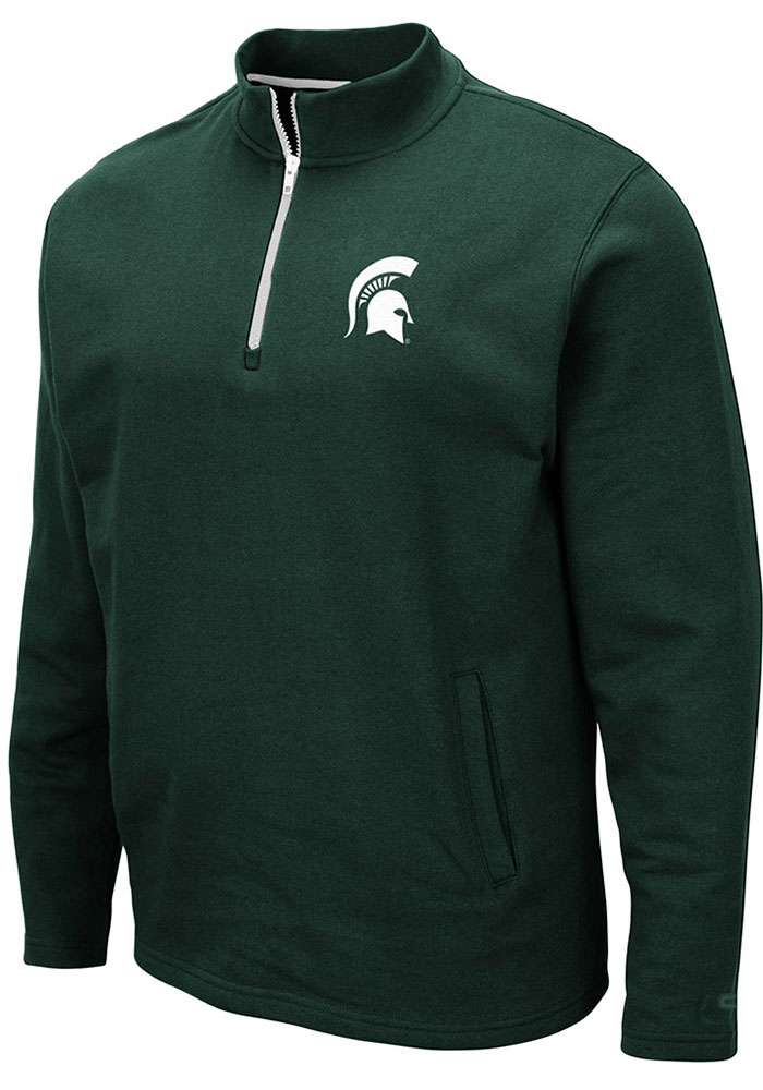 Colosseum Michigan State Spartans Mens Green Comic Long Sleeve 1/4 Zip Pullover - Image 1
