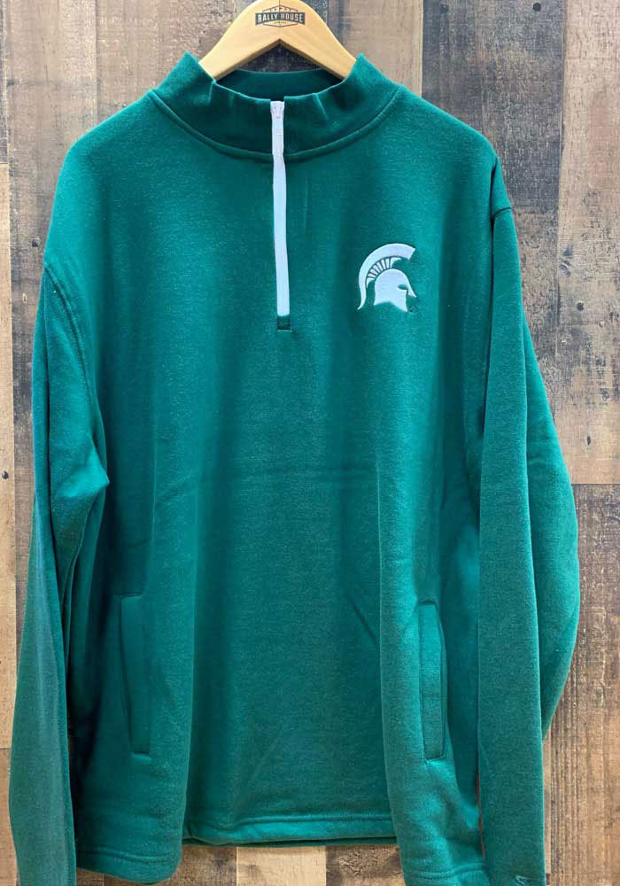Colosseum Michigan State Spartans Mens Green Comic Long Sleeve 1/4 Zip Pullover - Image 2